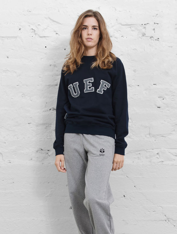 UEF O-neck Sweater dark blue