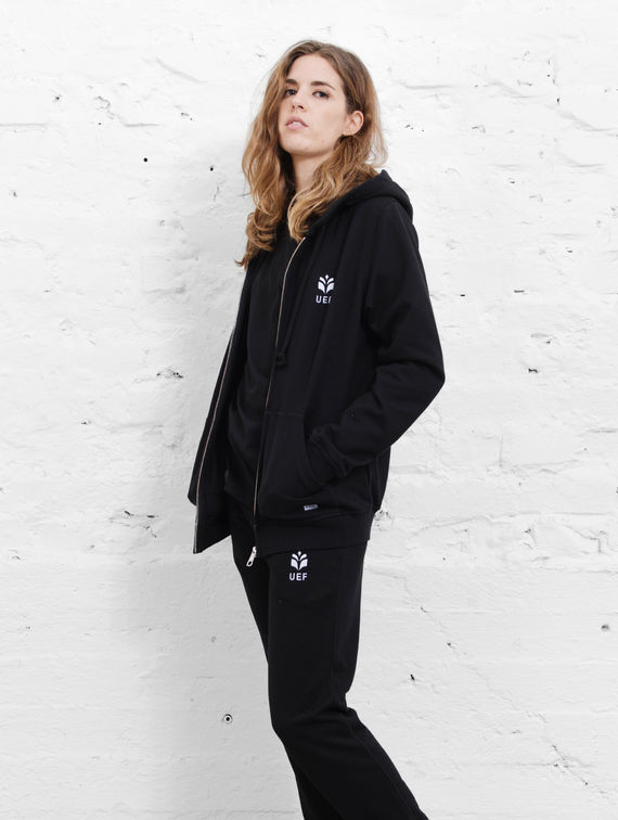UEF Slim-Fit Hoodie black logo embroidery on white left chest